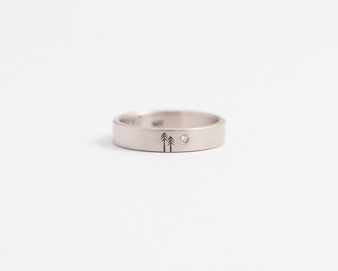 Woodland Ring with Single Diamond - Medium, [product_type} - Ash Hilton Jewellery