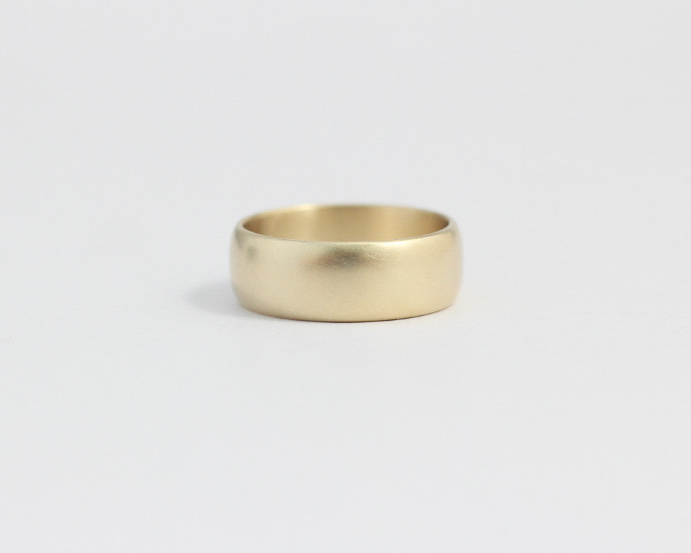Rounded Ethical Yellow Beach Gold Band - Wide, [product_type} - Ash Hilton Jewellery