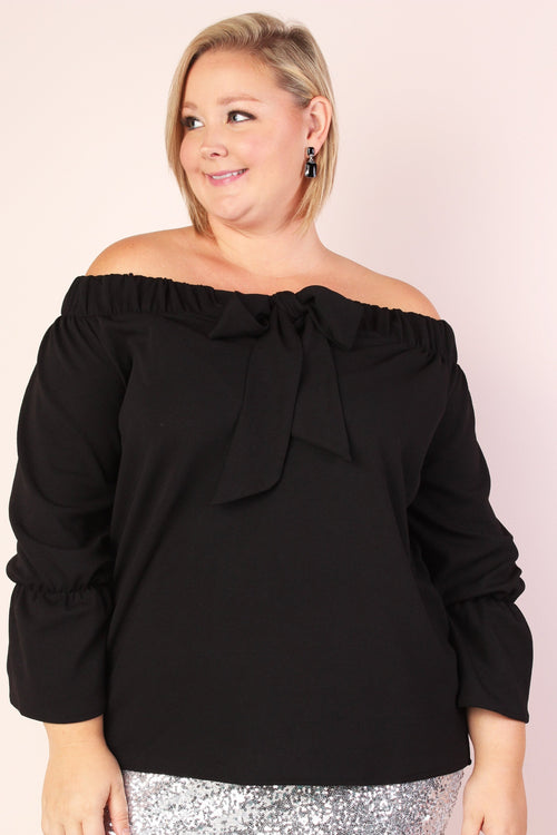 Leah Off Shoulder Stretchy Bow Top - Black (Sizes 14 - 16)
