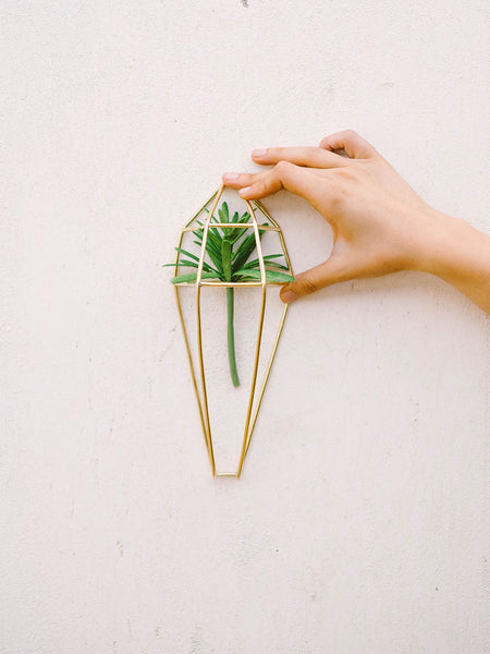 Home Goods - Geometric Brass Wall Planter