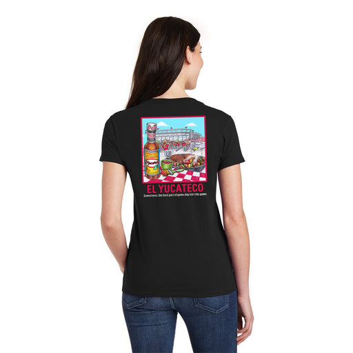El Yucateco Limited Edition Tailgating Ladies V-Neck Short Sleeve Tee - Unisex - Black