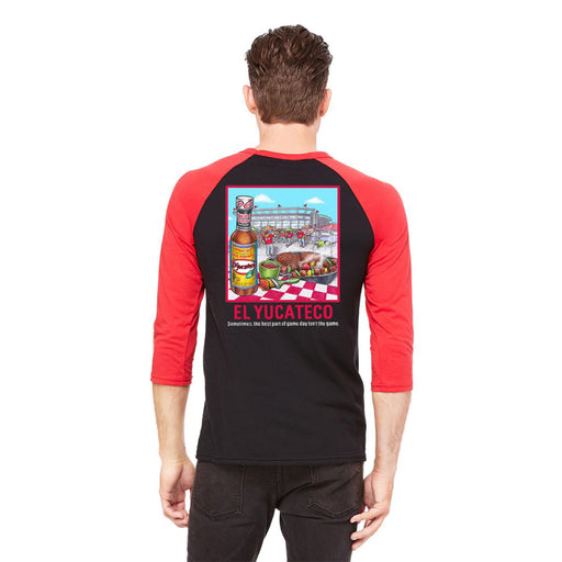 El Yucateco Limited Edition Tailgating 3/4 Raglan Sleeve Tee - Unisex - Black & Red