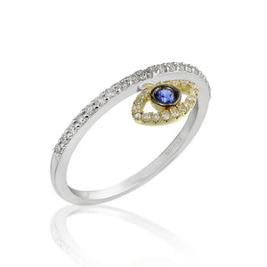 Diamond and Blue Sapphire Evil Eye Ring