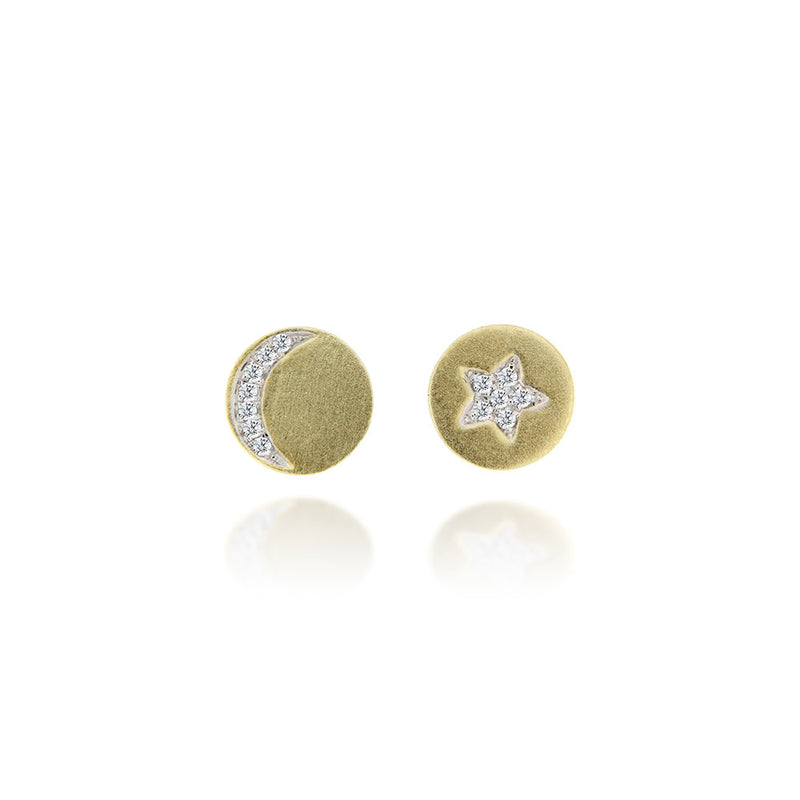 Yellow gold celestial diamond studs