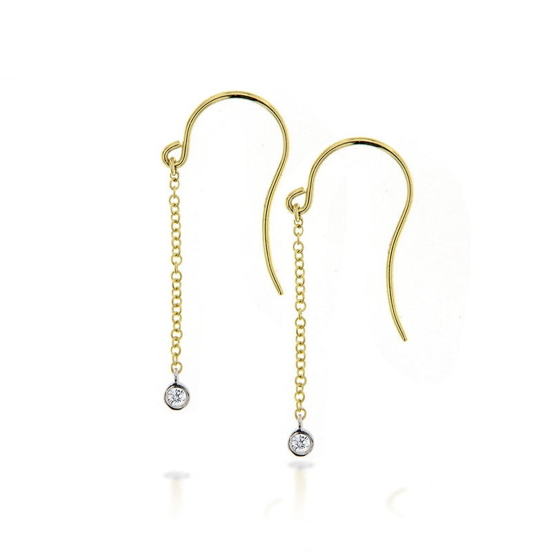Yellow gold chain drop earrings with bezel