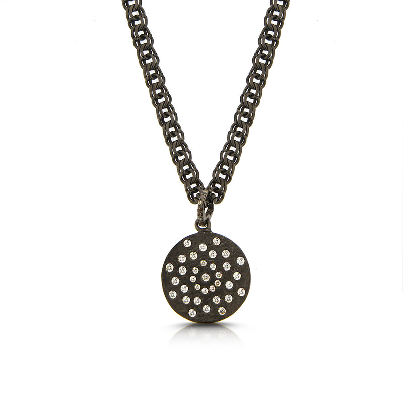 Mens Diamond Disk Necklace
