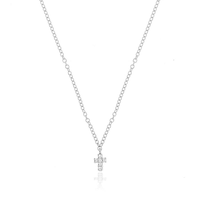white gold cross necklace with diamonds