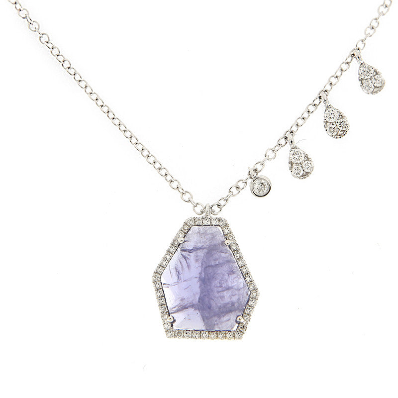 White Gold, Diamond & Tanzanite Necklace with Pave Charms