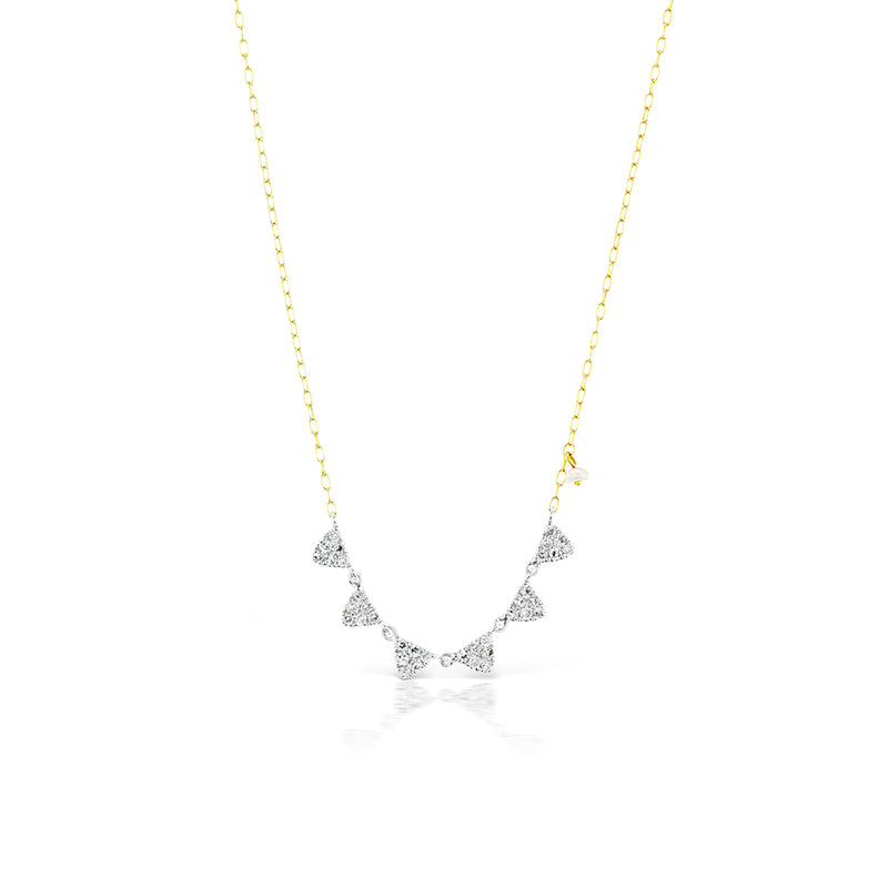 14k Two Tone Diamond Necklace with Off-Centered Pearl