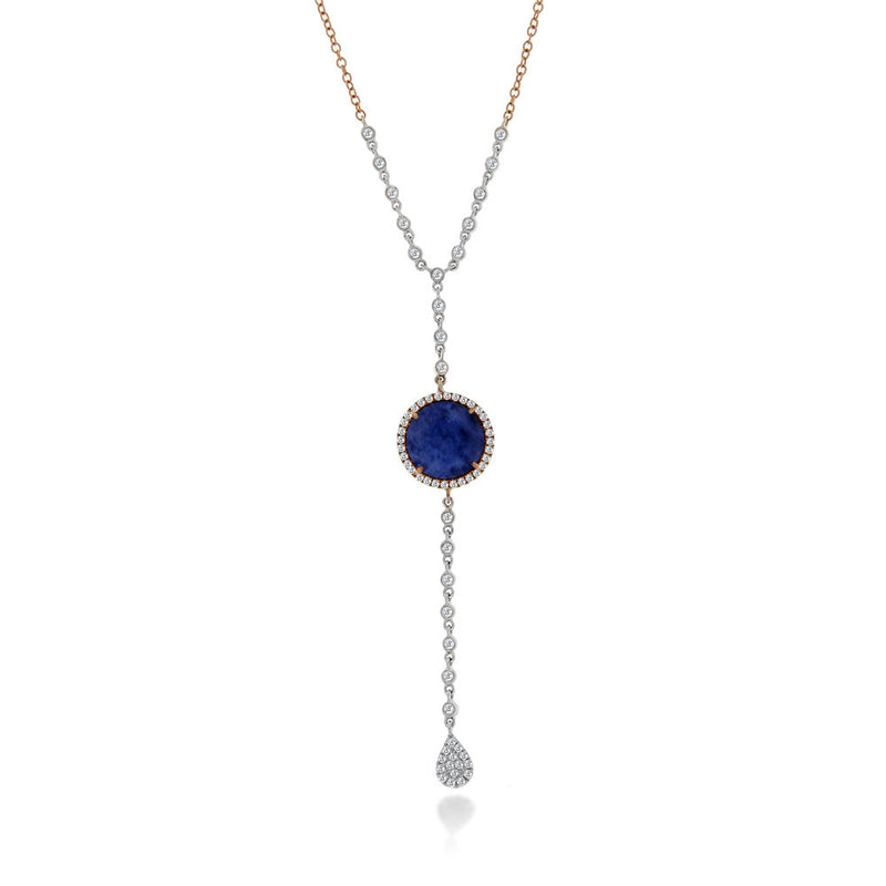 Blue Sapphire Necklace with Bezel Chain