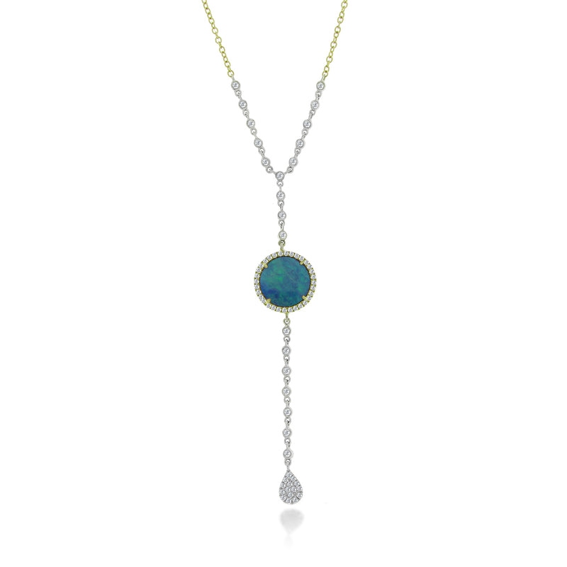 Yellow and White Gold Diamond Opal Lariat Necklace ONE LEFT