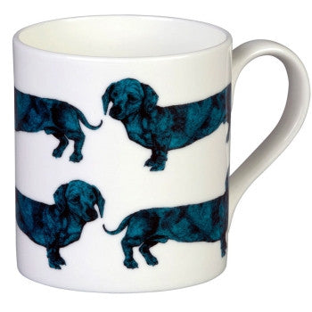 Dachshund Mug in Turquoise by Lisa Bliss