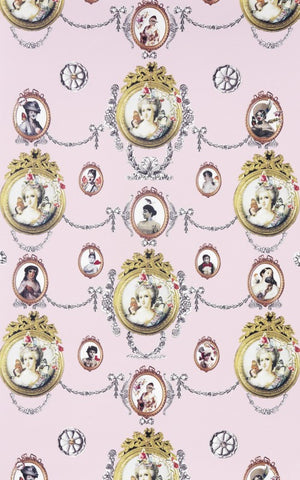 Marie Antoinette Wallpaper in Pink by Melissa Braconnier