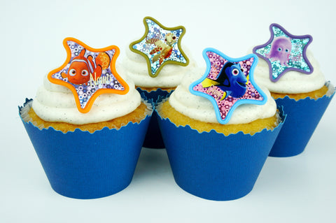 Finding Nemo Colorful Starfish and Blue cupcake toppers/wrappers COMBO - Set of 24 items
