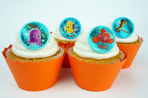 Finding Nemo blue bubbles and Orange cupcake toppers/wrappers COMBO - Set of 24 items