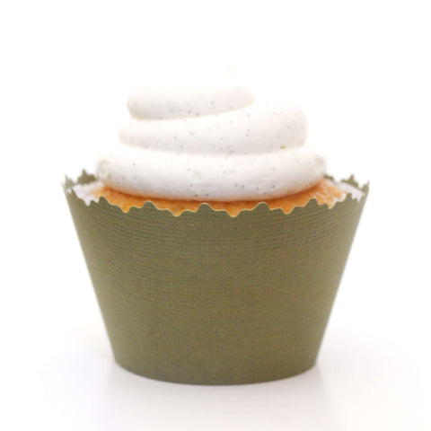 Olive Green Solid Color Textured Cupcake Wrapper, Adjustable, Adjustable - Set of 12