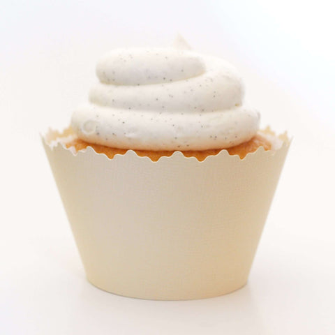Vanilla Ivory Cream Solid Color Textured Cupcake Wrapper, Adjustable, Adjustable - Set of 12