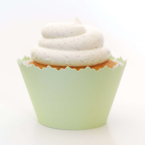 Celery Light Green Solid Color Cupcake Wrapper, Adjustable, Adjustable - Set of 12