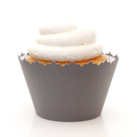 Charcoal Dark Gray Solid Color Smooth Cupcake Wrapper, Adjustable, Adjustable - Set of 12