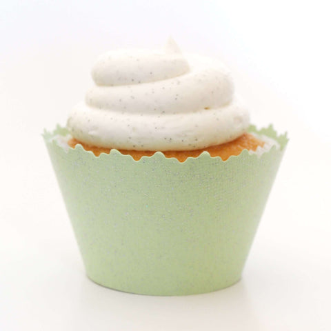 Glitter Sweet Pear Green Sparkly Cupcake Wrapper, Adjustable, Adjustable - Set of 12