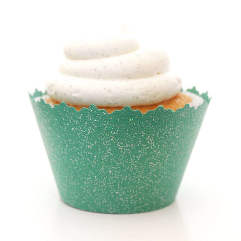 Glitter Green Grass Sparkly Cupcake Wrapper, Adjustable, Adjustable - Set of 12