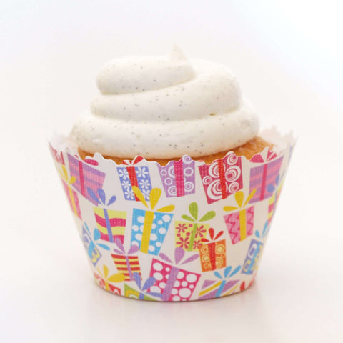 Birthday Party Presents:  Multi-Color Gifts Medley Cupcake Wrapper, Adjustable, Adjustable - Set of 12