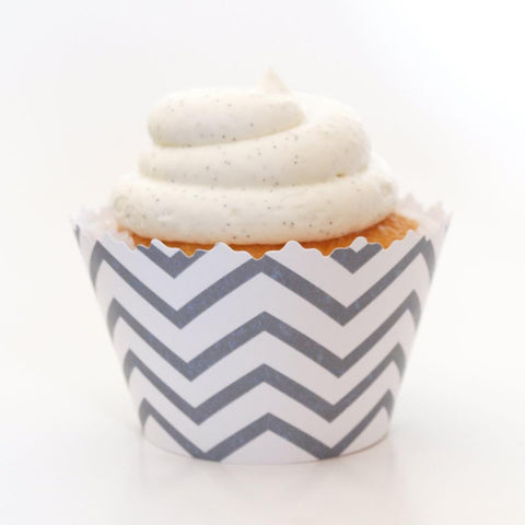 Silver Chevron Cupcake Wrappers, Adjustable - Set of 12