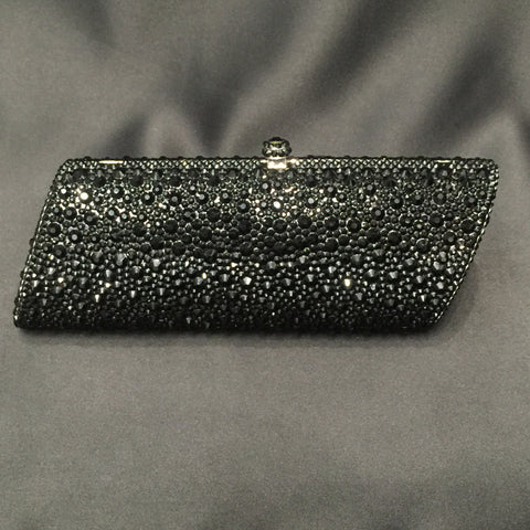 Jet Black Hard Shell Swarovski Crystal Clutch