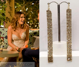 As worn by Georgia Love - Bachelorette AU -  Swarovski Crystal Gold Mesh Linial Earrings