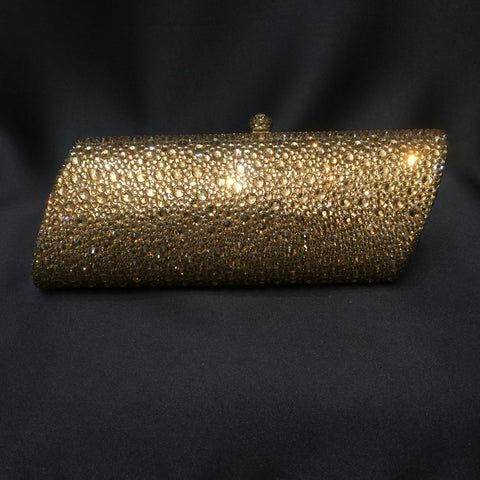 Gold Swarovski Crystal Hard Shell Cltch