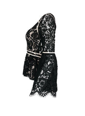 Gemma Size S Black All Over Lace Bell Sleeve Hi-Lo Longsleeve