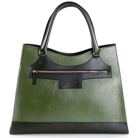 Business Leather Green Bag with Black Highlights front view