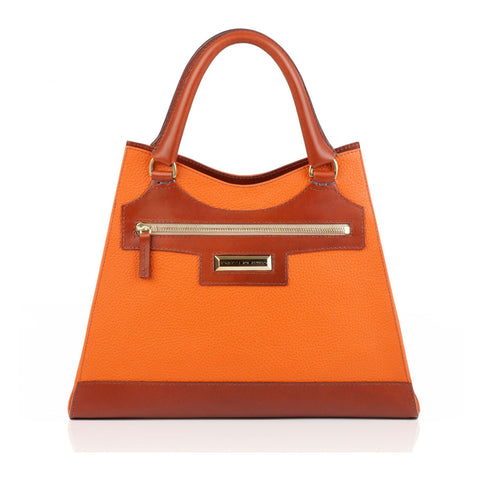 Leather Orange Bag and Tan front view