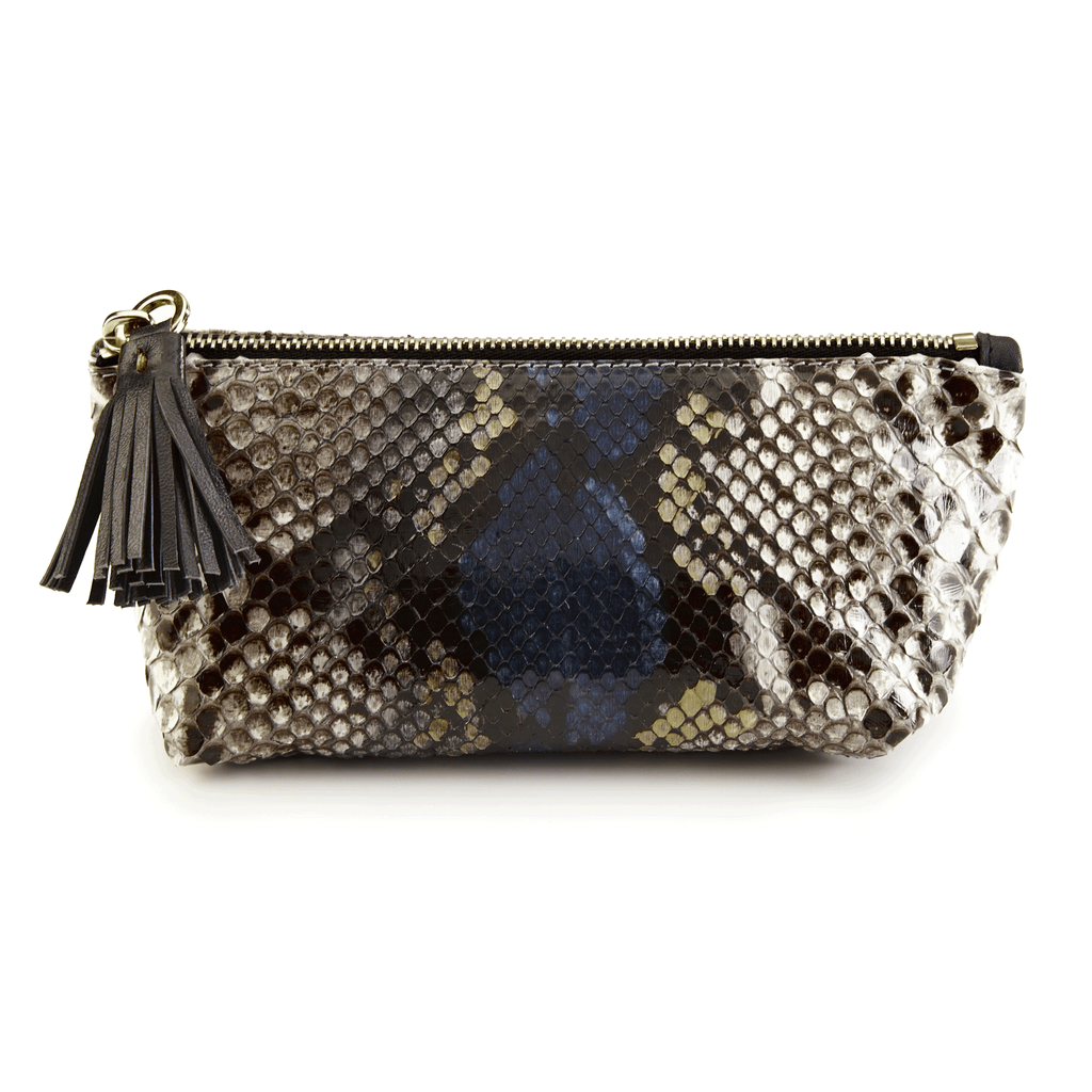 Makeup Bag in Camelot Python Leather