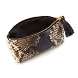 Makeup Bag in Camelot Python Leather lining detail