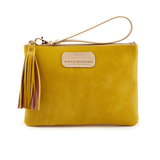 Handmade Leather Wristlet in Canary Yellow
