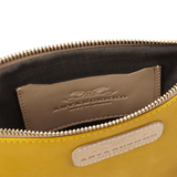 Handmade Leather Wristlet in Canary Yellow with lining detail