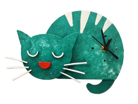 Teal Sleepy Kitten Pendulum Wall Clock