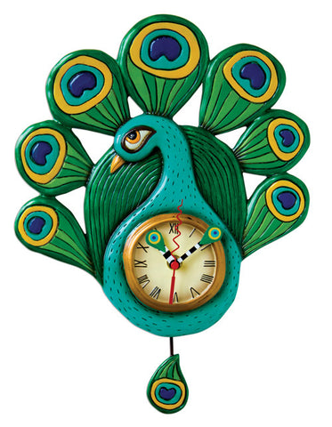Pretty Peacock Pendulum Wall Clock