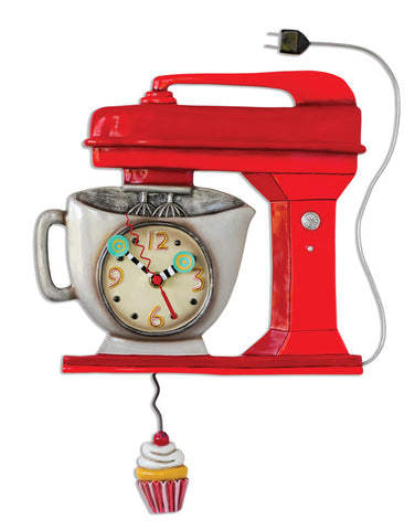 Red Vintage Mixer Pendulum Wall Clock