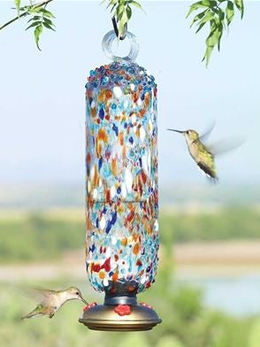 Multi-color Sprinkles Filigree Recycled Glass Hummingbird Feeder