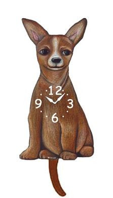 Tan Chihuahua Pendulum Wall Clock