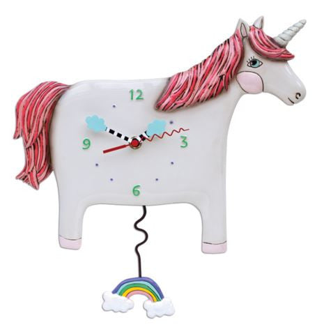 "Unicorn ""Buttercup"" Pendulum Wall Clock"