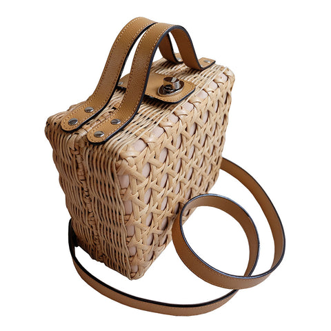 """Cate"" Natural Box Rattan Convertible Tote"