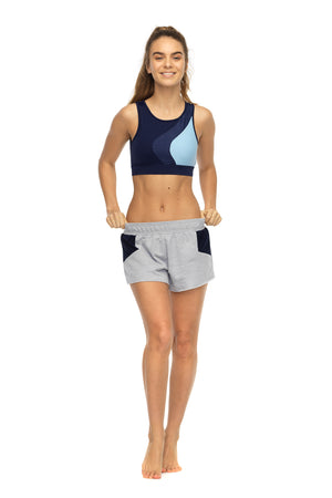 Braze sports short in grey marl - front hip