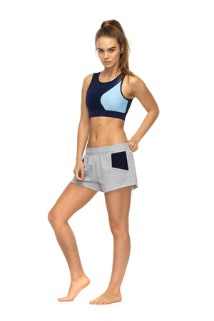 Braze sports short in grey marl - side