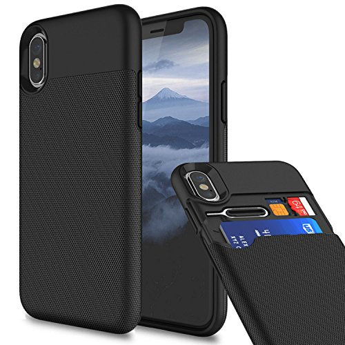 iPhone X Wallet Shockproof Case Cover With Credit Card Slots Holder - Black