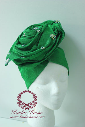 AG - Lovely Rose Design Auto-Gele/ Aso-oke Turban in Green