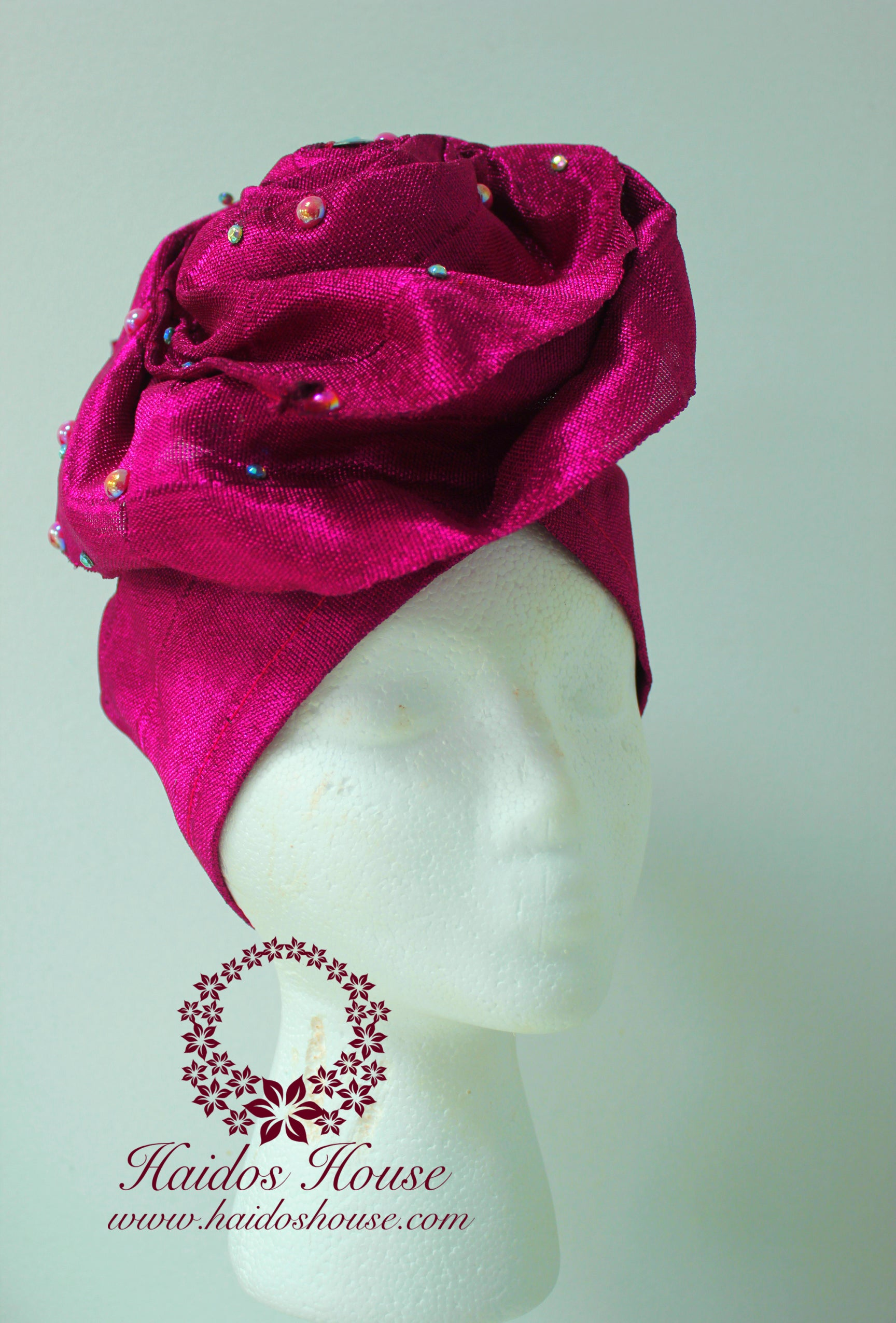 AG - Lovely Rose Design Auto-Gele/ Aso-oke Turban in Magenta