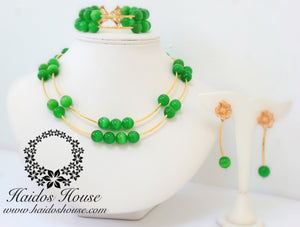 HBS 1287 - 2 Layer Green & Gold Beads Set